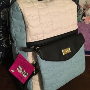 Betsey Johnson quilted cat 2 in 1 backpack